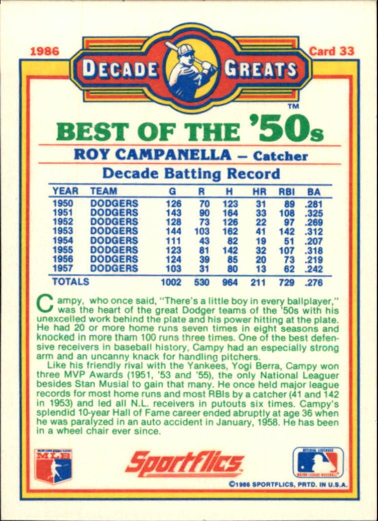 1986 Sportflics Decade Greats #33 Roy Campanella back image