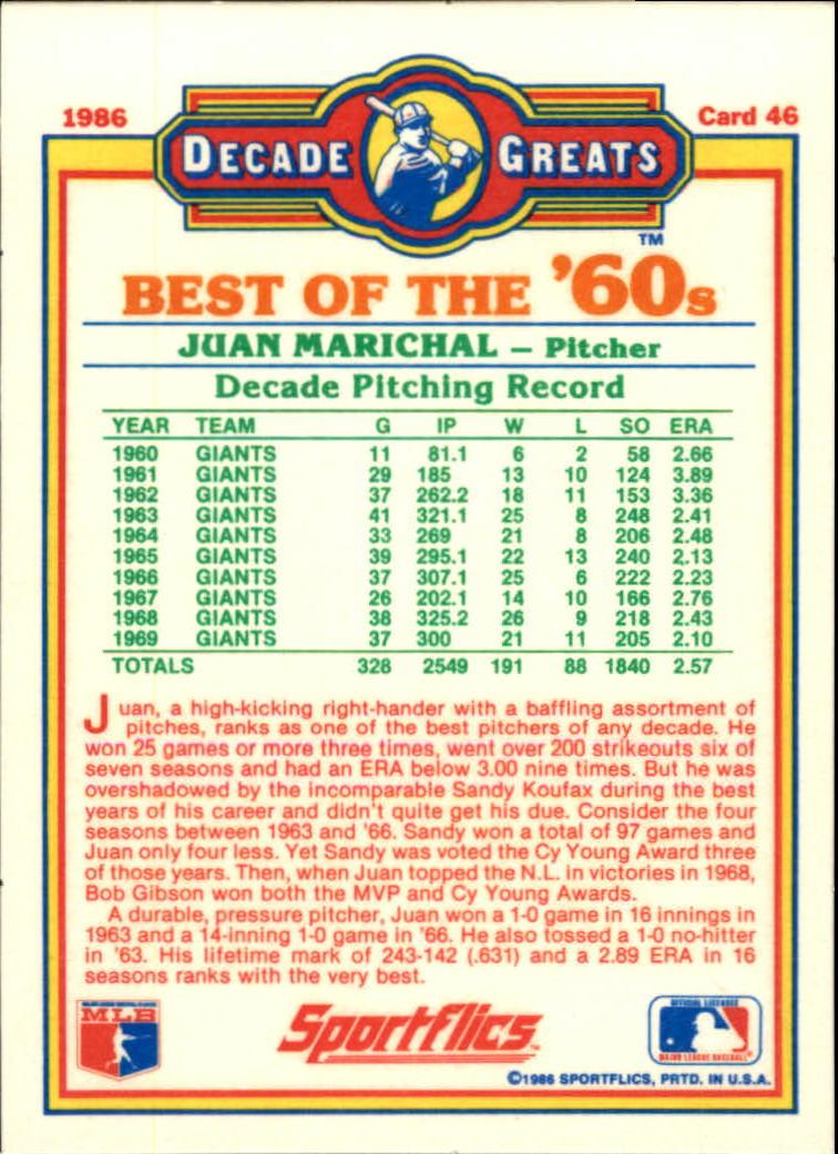 1986 Sportflics Decade Greats #46 Juan Marichal back image