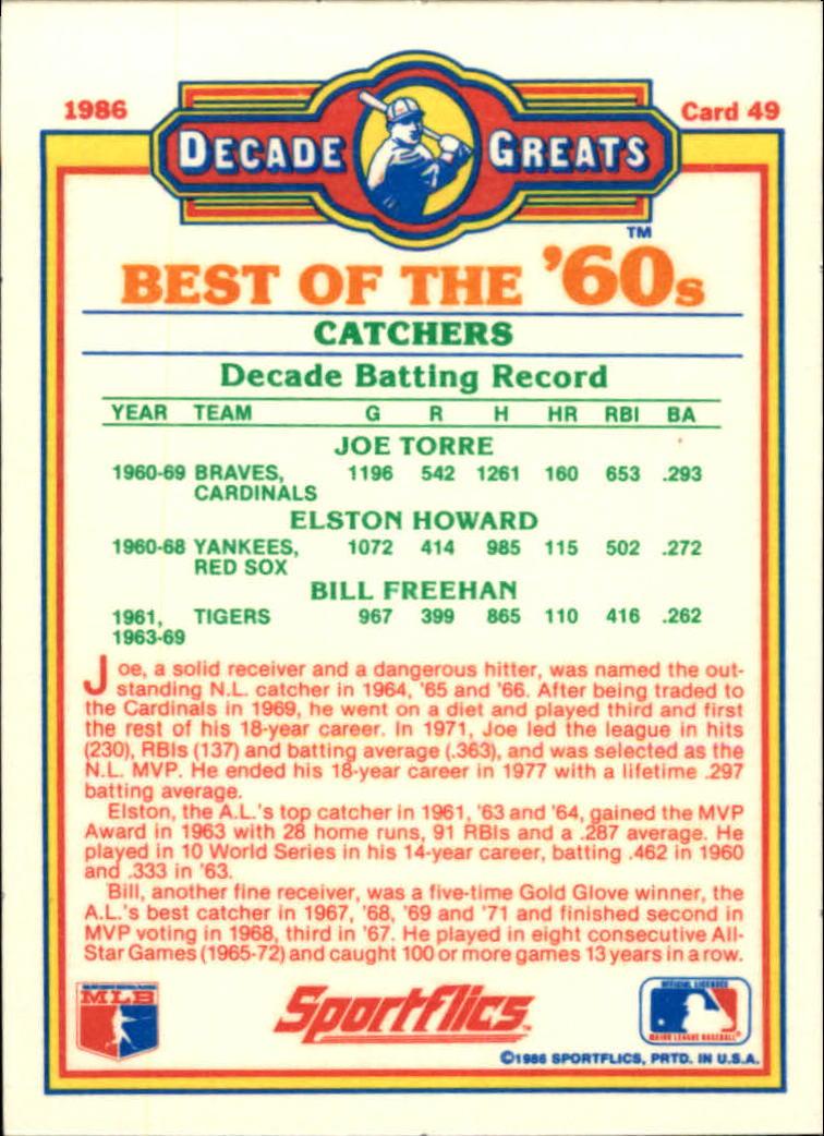 1986 Sportflics Decade Greats #49 Best '60s Catchers/Joe Torre/Elston Howard/Bill back image