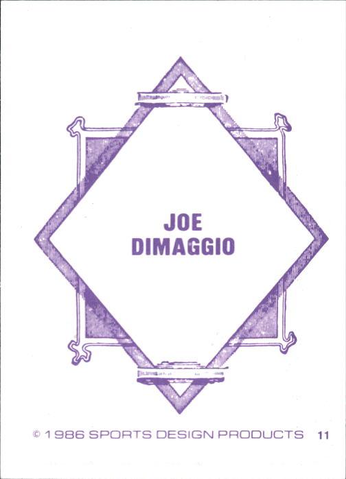 1986 Sports Design J.D. McCarthy #11 Joe DiMaggio back image