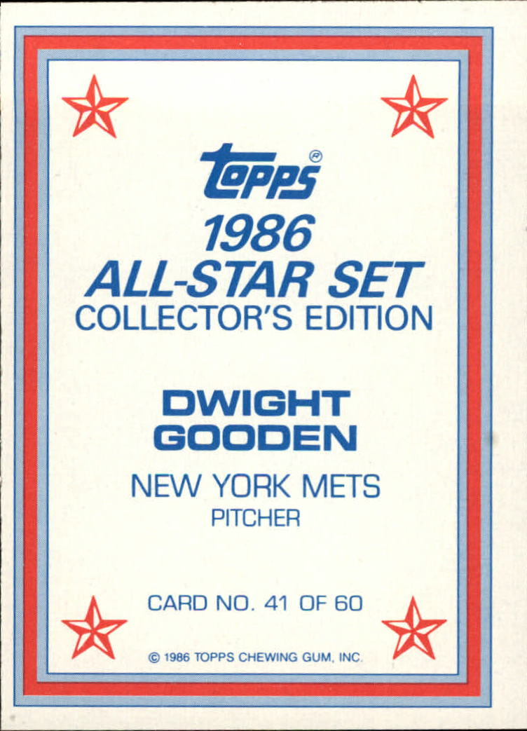 1986 Topps Glossy Send-Ins #41 Dwight Gooden back image