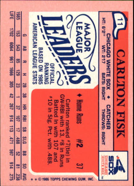 1986 Topps Mini Leaders #11 Carlton Fisk back image