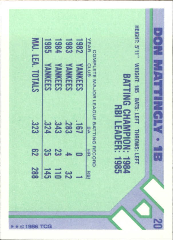 1986 Woolworth's Topps #20 Don Mattingly back image