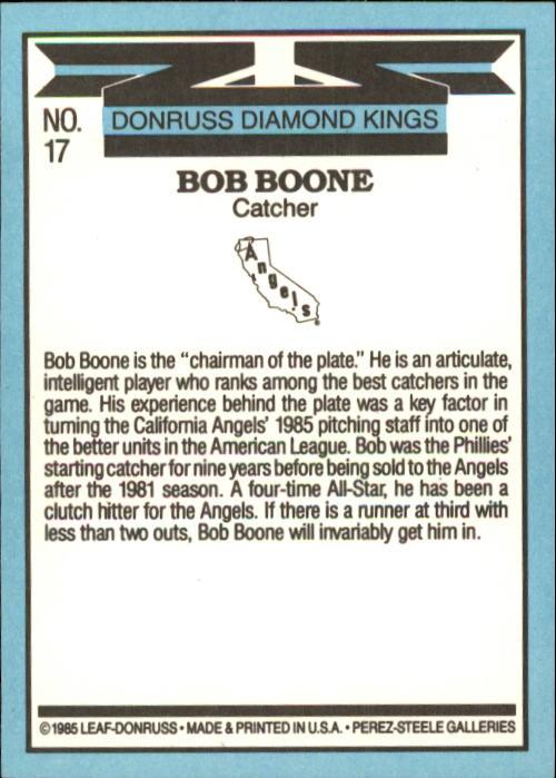 1986 Donruss #17 Bob Boone DK back image