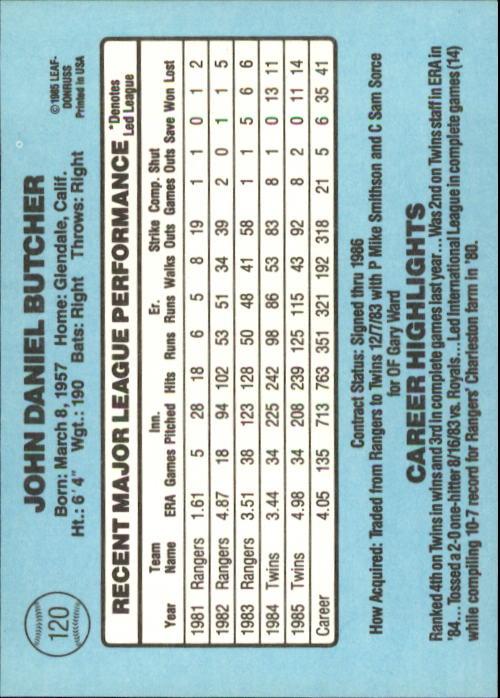 1986 Donruss #120 John Butcher back image