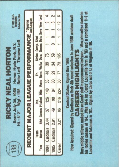 1986 Donruss #138 Ricky Horton back image