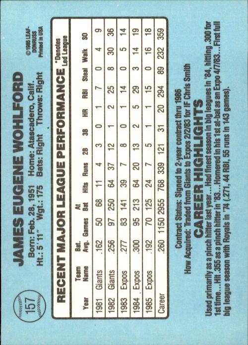 1986 Donruss #157 Jim Wohlford back image