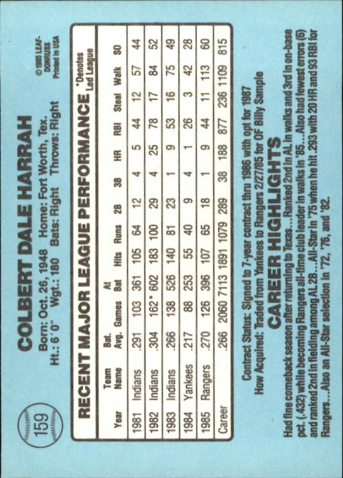 1986 Donruss #159 Toby Harrah back image