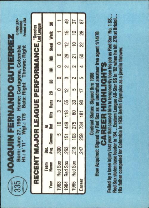 1986 Donruss #335 Jackie Gutierrez back image