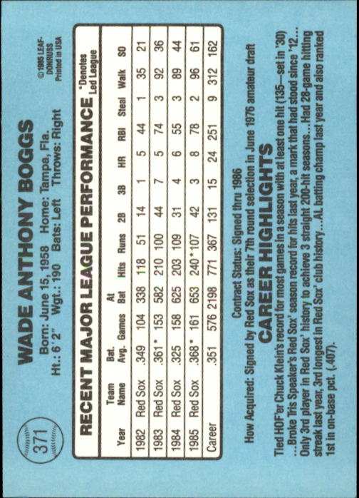 1986 Donruss #371 Wade Boggs back image
