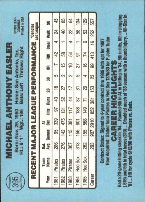 1986 Donruss #395 Mike Easler back image