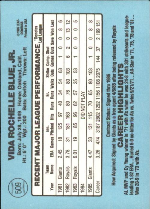 1986 Donruss #509 Vida Blue back image