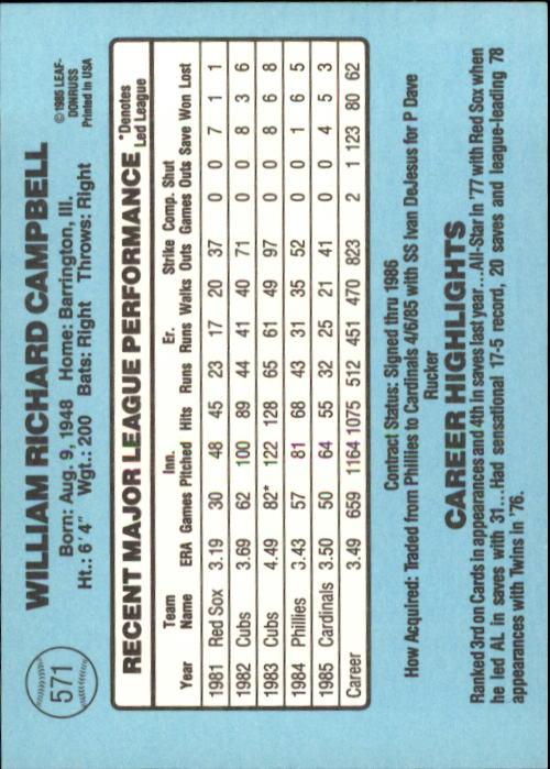 1986 Donruss #571 Bill Campbell back image