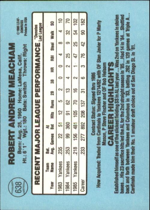 1986 Donruss #638 Bobby Meacham back image
