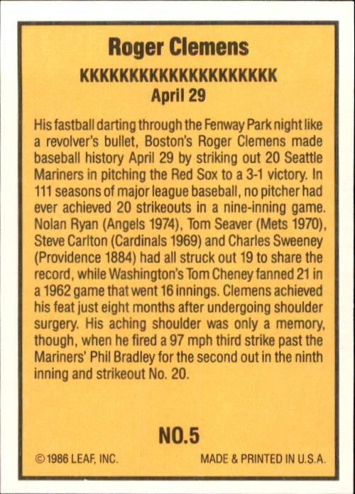 1986 Donruss Highlights #5 Roger Clemens back image