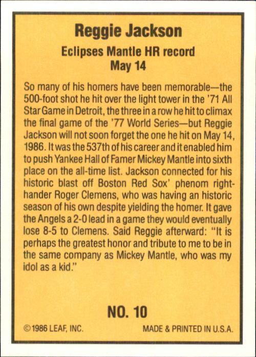 1986 Donruss Highlights #10 M.Mantle/R.Jackson back image