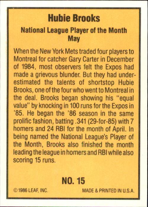 1986 Donruss Highlights #15 Hubie Brooks back image
