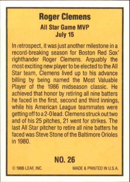 1986 Donruss Highlights #26 Roger Clemens back image