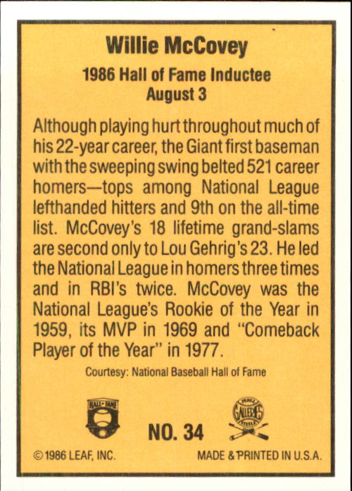 1986 Donruss Highlights #34 Willie McCovey back image