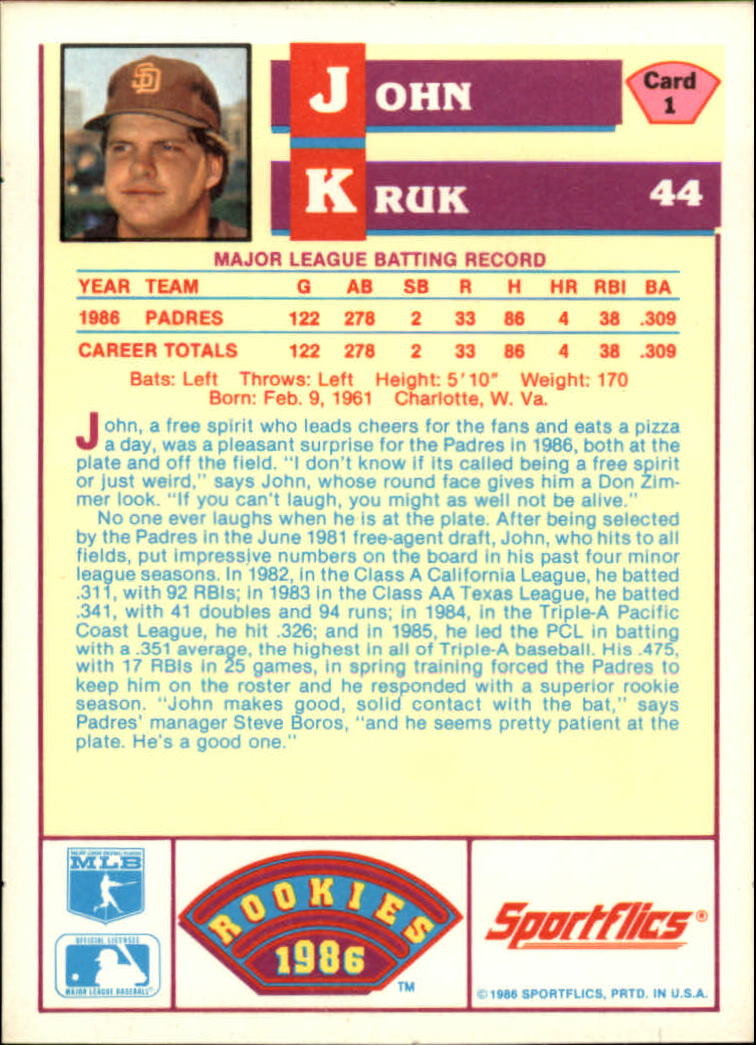 1986 Sportflics Rookies #1 John Kruk back image