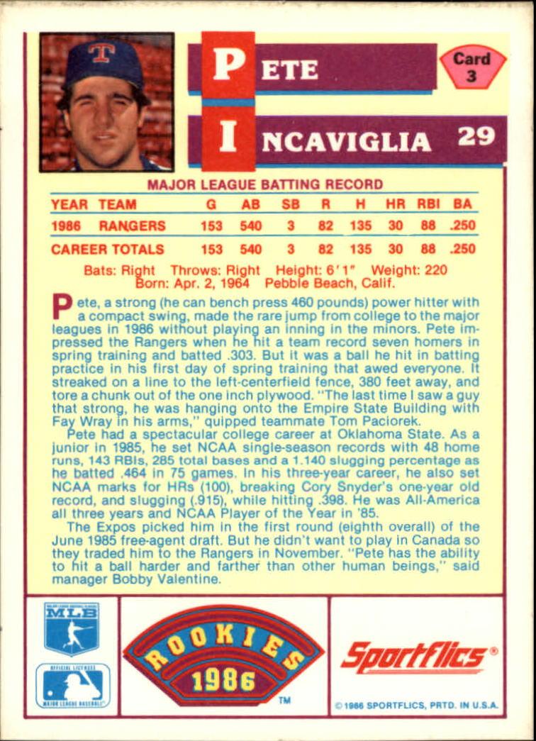 1986 Sportflics Rookies #3 Pete Incaviglia back image
