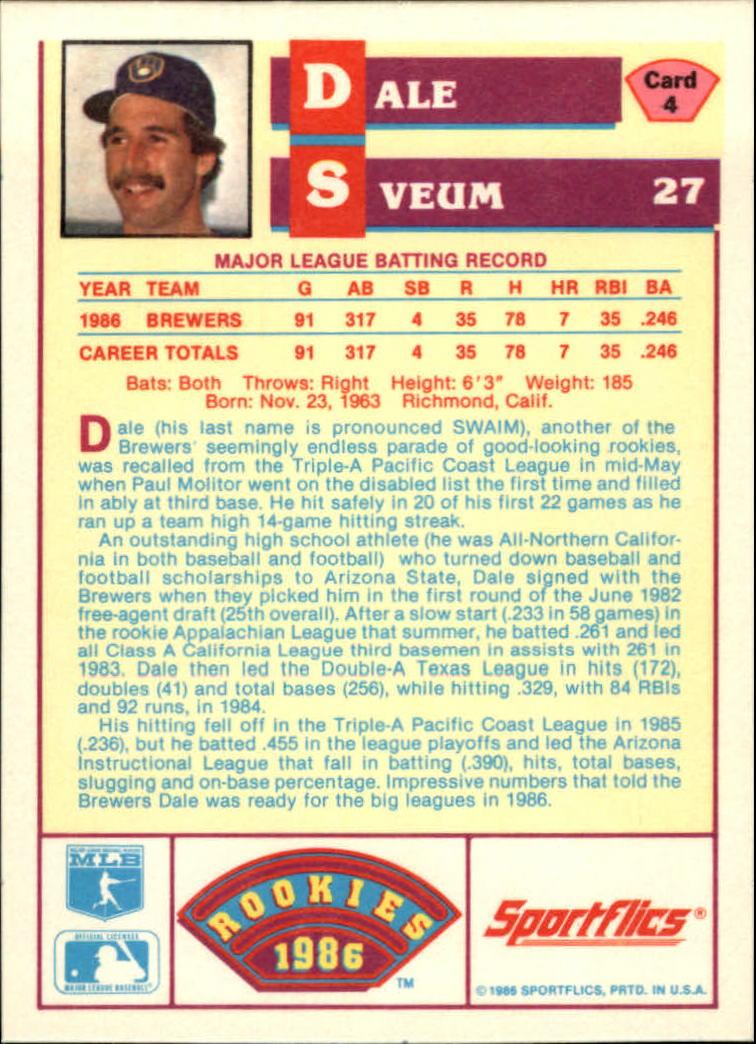 1986 Sportflics Rookies #4 Dale Sveum back image