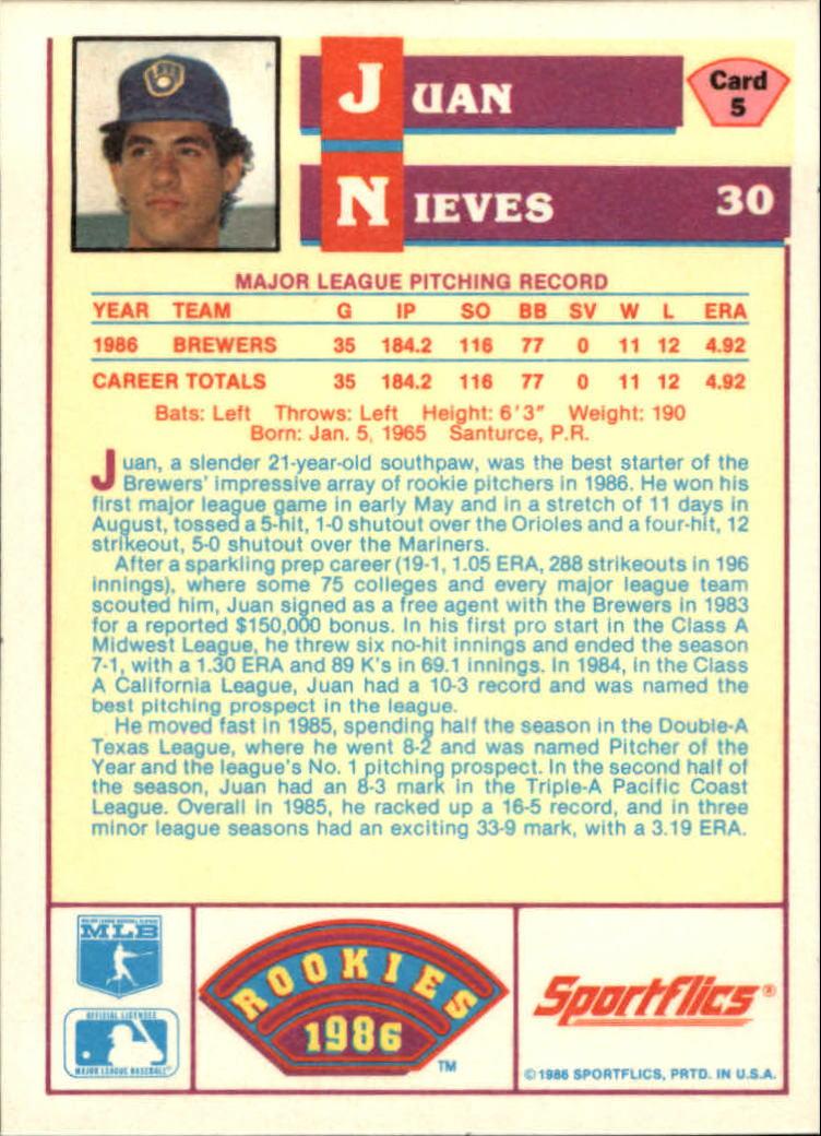 1986 Sportflics Rookies #5 Juan Nieves back image