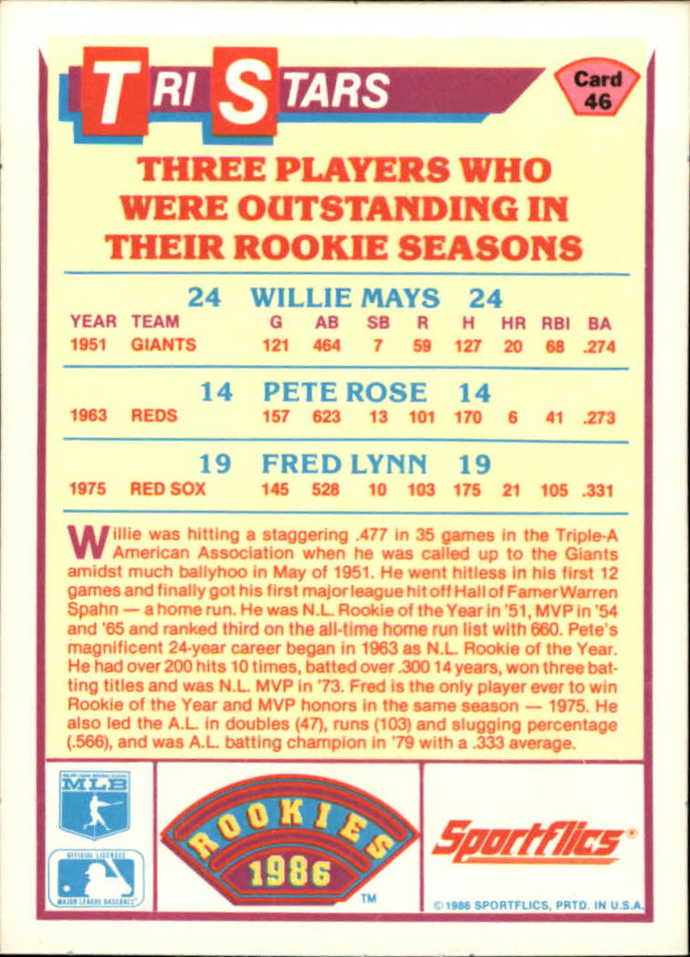 1986 Sportflics Rookies #46 Willie Mays/Pete Rose/Fred Lynn back image