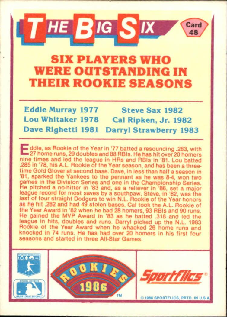 1986 Sportflics Rookies #48 Big Six Cal Ripken back image