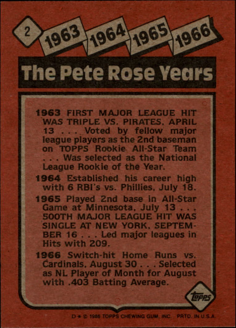 1986 Topps #2 Rose Special: '63-'66 back image
