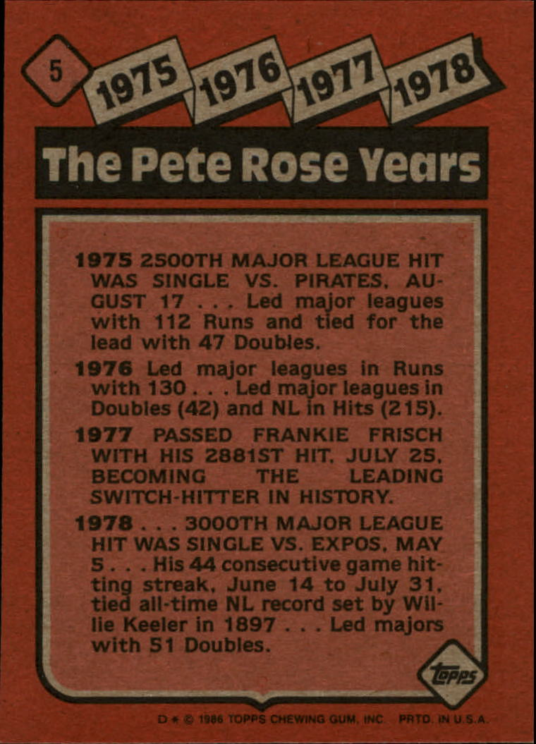 1986 Topps #5 Rose Special: '75-'78 back image