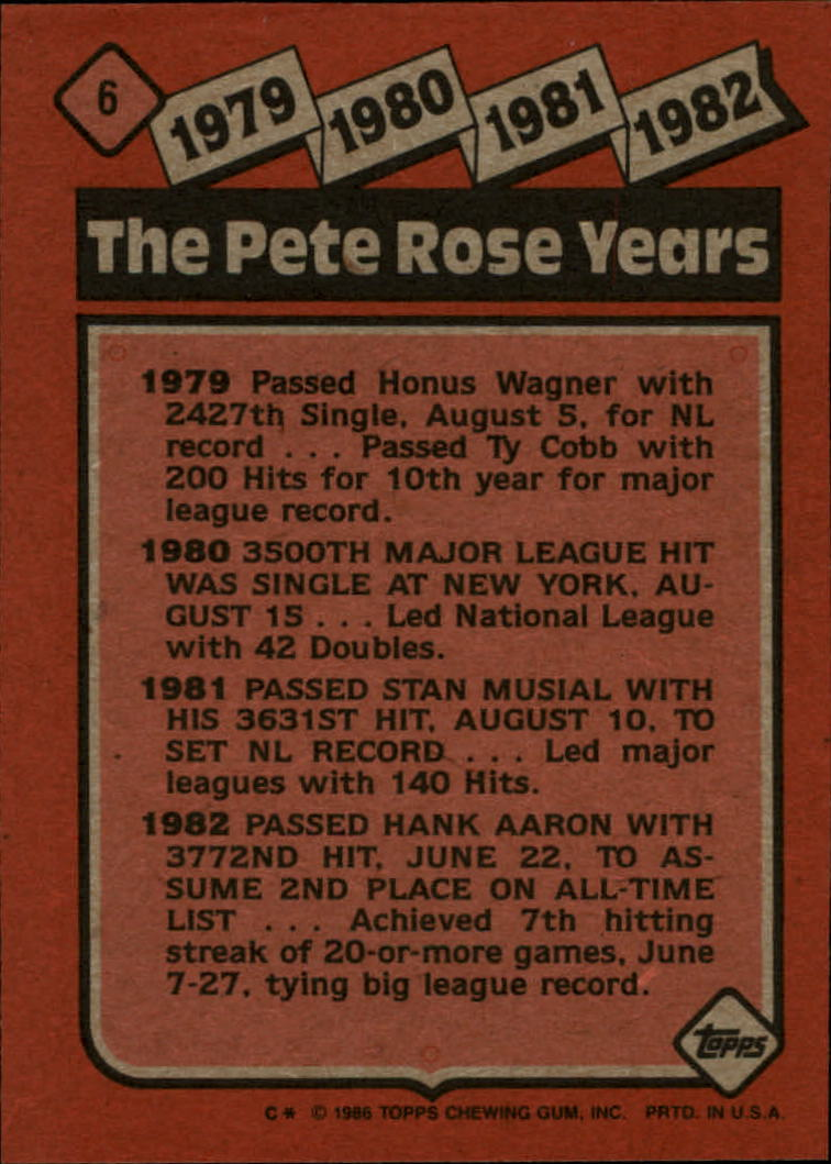 1986 Topps #6 Rose Special: '79-'82 back image