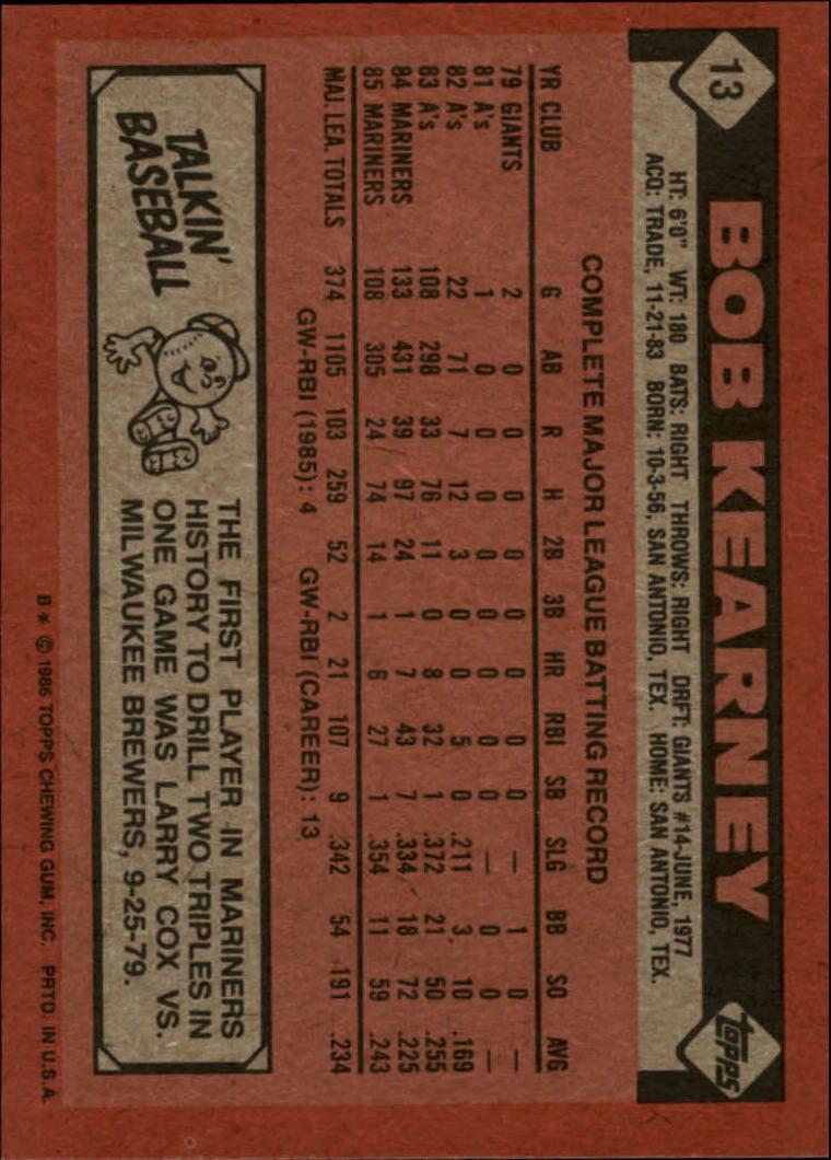 1986 Topps #13 Bob Kearney back image