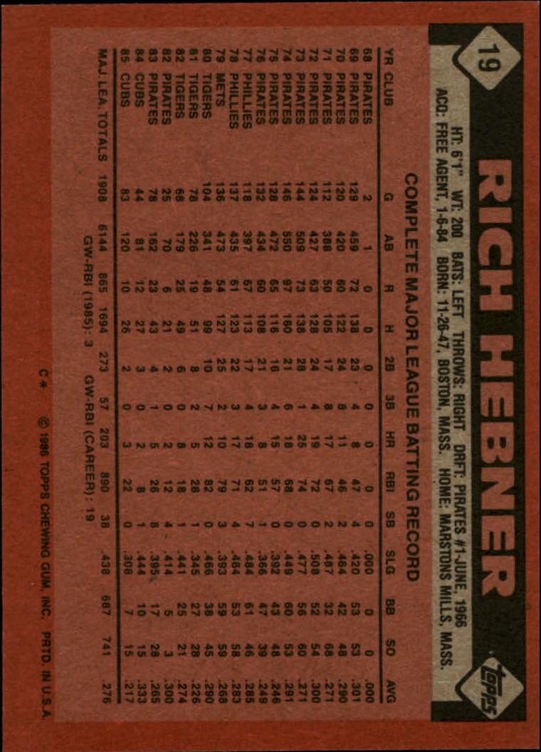 1986 Topps #19 Rich Hebner back image