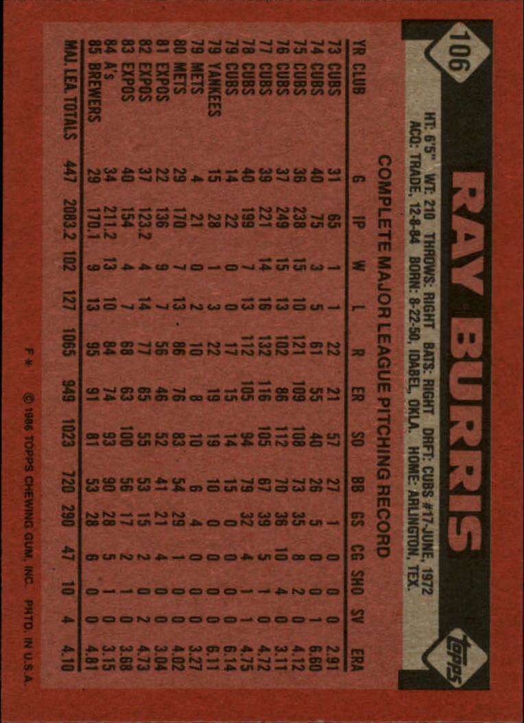 1986 Topps #106 Ray Burris back image