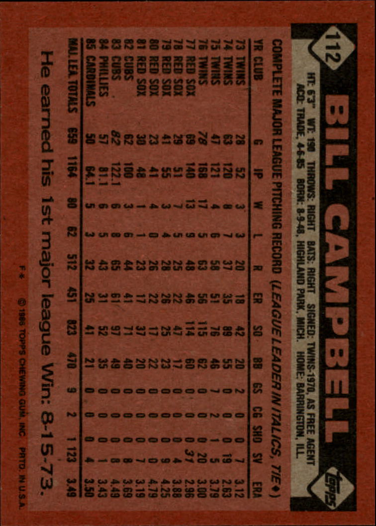 1986 Topps #112 Bill Campbell back image