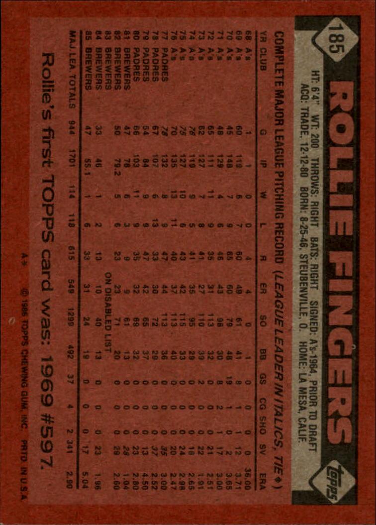 1986 Topps #185 Rollie Fingers back image