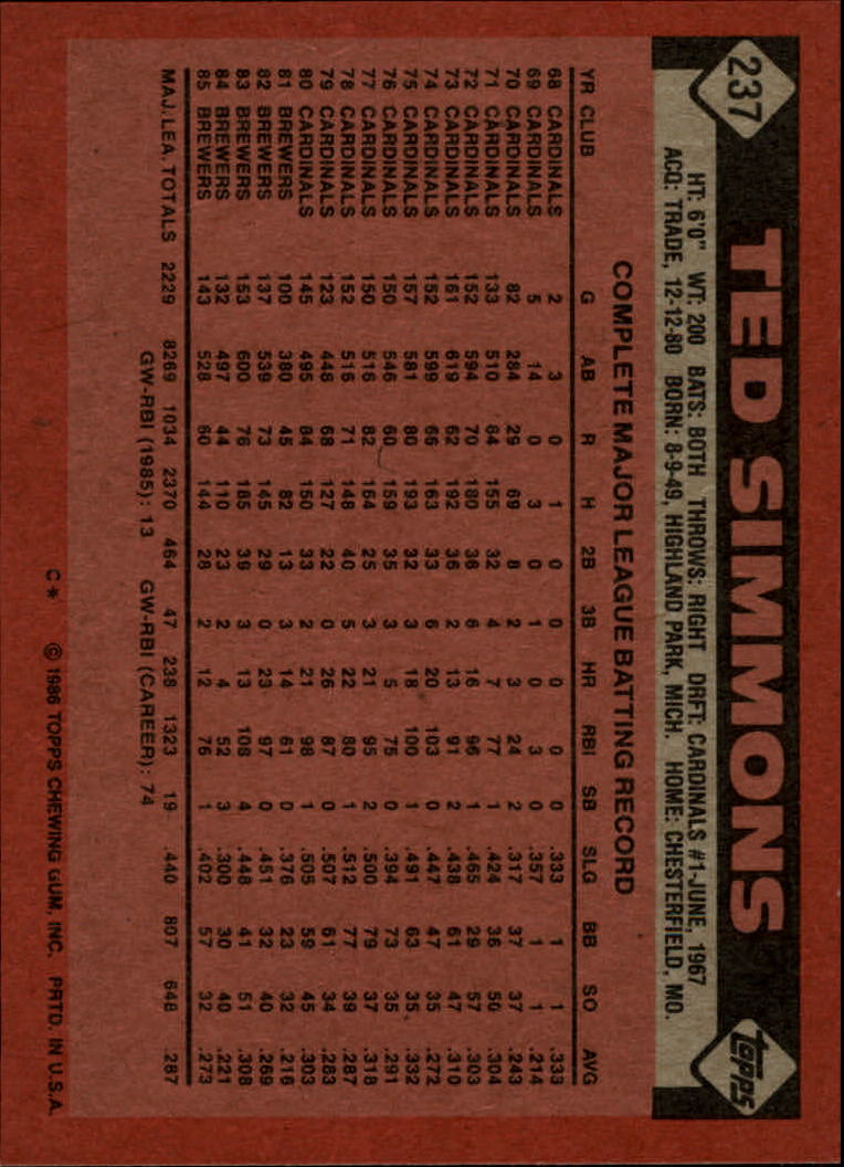1986 Topps #237 Ted Simmons back image