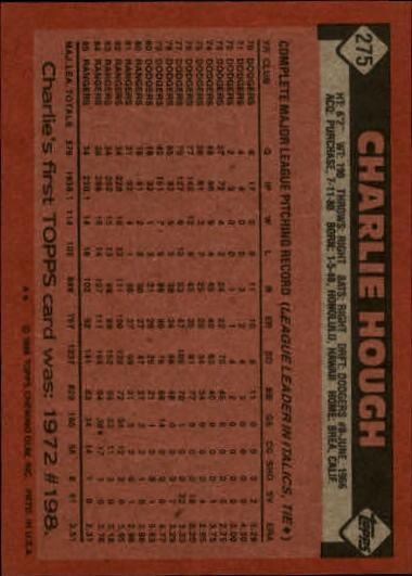 1986 Topps #275 Charlie Hough back image