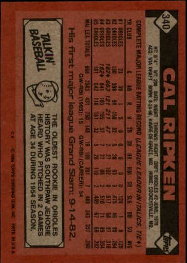 1986 Topps #340 Cal Ripken back image