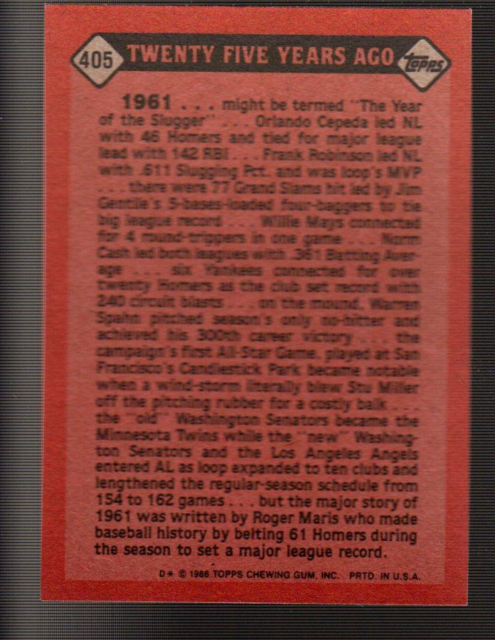 1986 Topps #405 Roger Maris TBC back image