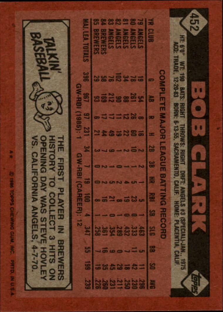 1986 Topps #452 Bob Clark back image