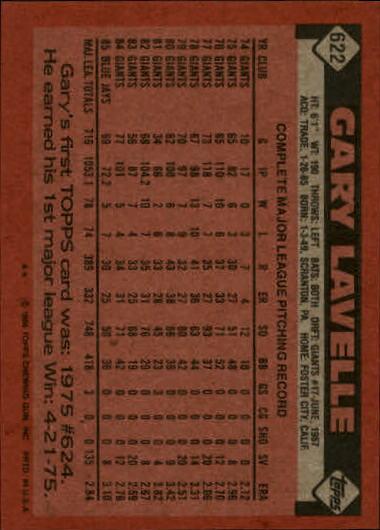 1986 Topps #622 Gary Lavelle back image