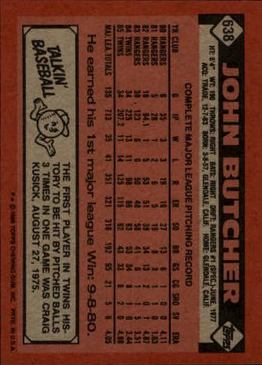 1986 Topps #638 John Butcher back image