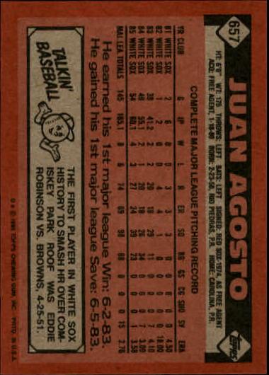 1986 Topps #657 Juan Agosto back image