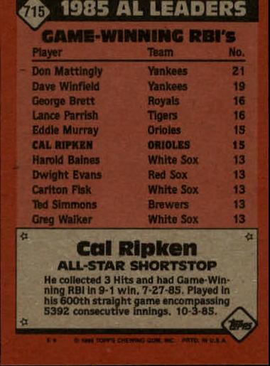 1986 Topps #715 Cal Ripken AS back image