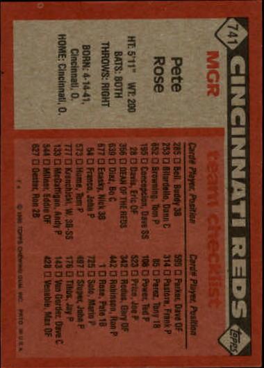 1986 Topps #741 Pete Rose MG/TC back image