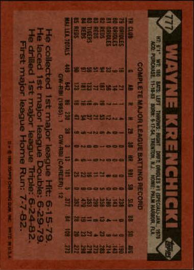 1986 Topps #777 Wayne Krenchicki back image