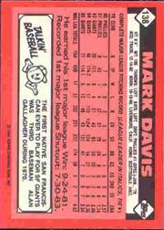 1986 Topps Tiffany #138 Mark Davis back image
