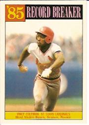 1986 Topps Tiffany #201 Vince Coleman RB/Most stolen bases&/season& rook